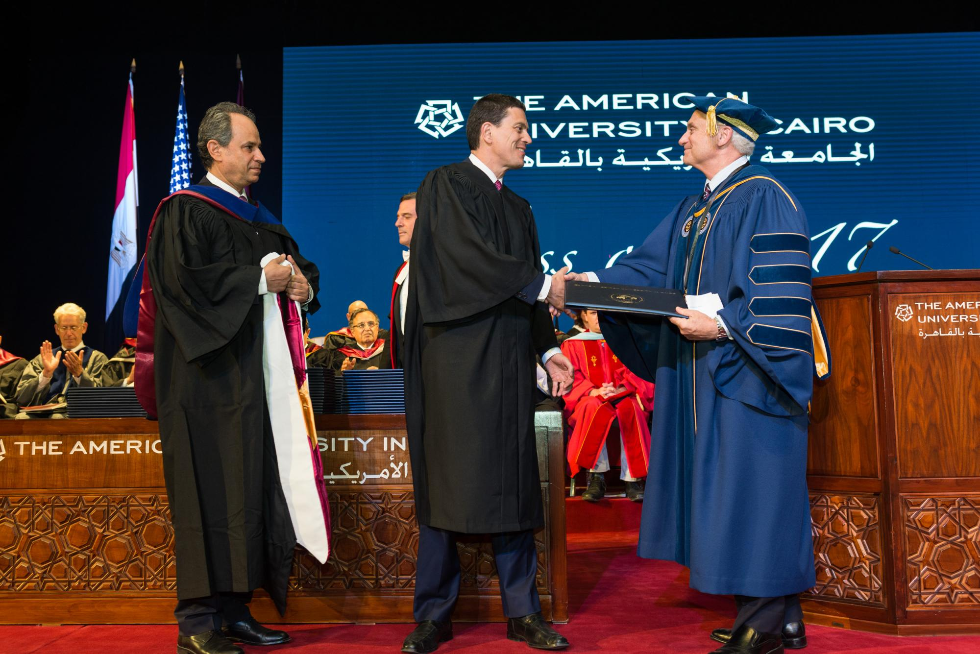 David Miliband receives honorary degree at the 2017 graduate commencement.