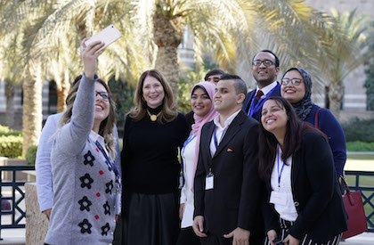 Susan Pompeo with students