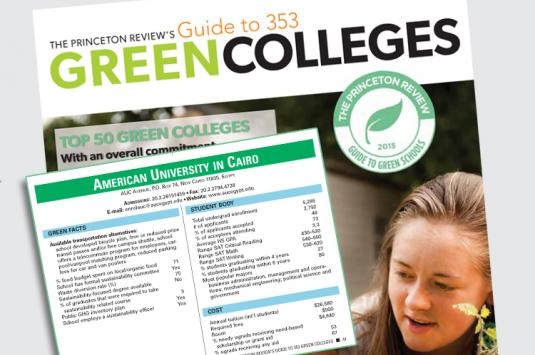 AUC has been named to The Princeton Review's 2015 Green Colleges Guide