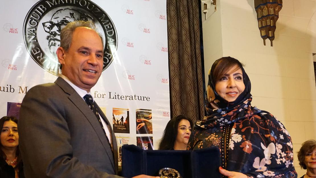 AUC Provost Ehab Abdel-Rahman with the award-winning Saudi Arabian writer Omaima Al-Khamis