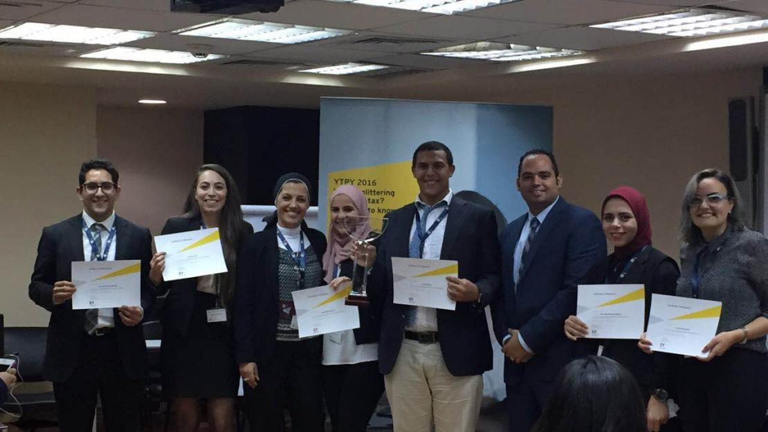 The top six finalists of the competition with HR manager and senior tax analyst at EY