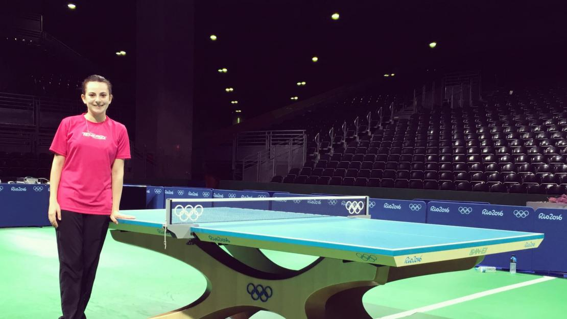 Dina Meshref at an Olympics table tennis arena