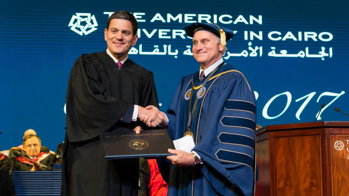 President Ricciardone presented David Miliband, president and CEO of the International Rescue Committee, with an honorary Doctor of Humane Letters (honoris causa) at the 2017 graduate commencement ceremony.