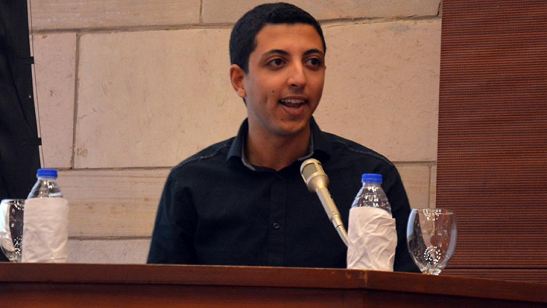 Ahmed Sharafeldin recounts his experience at AUC as part of the fifth annual welcome and recognition ceremony for new and returning scholarship students
