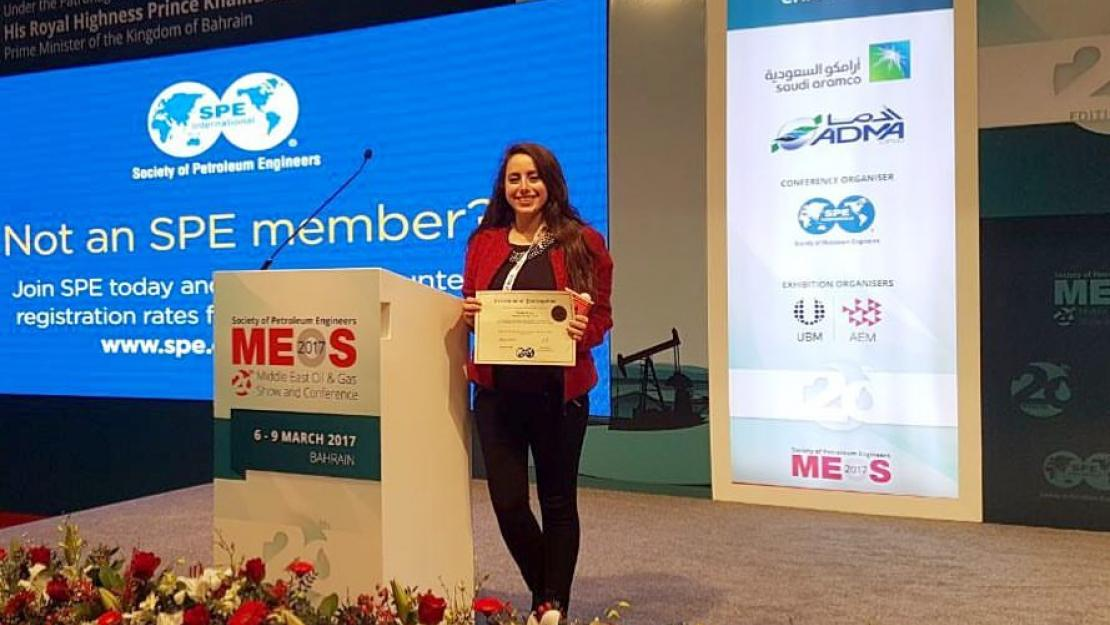 Farah Fawzy is the first AUCian as well as the first Egyptian female to win first place at the Regional Student Paper Contest at the Bahrain Oil and Gas Conference