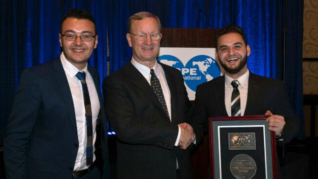 Mark Mohy, SPE International President Nathan Meehan and Omar Fathy at the Student Awards Luncheon