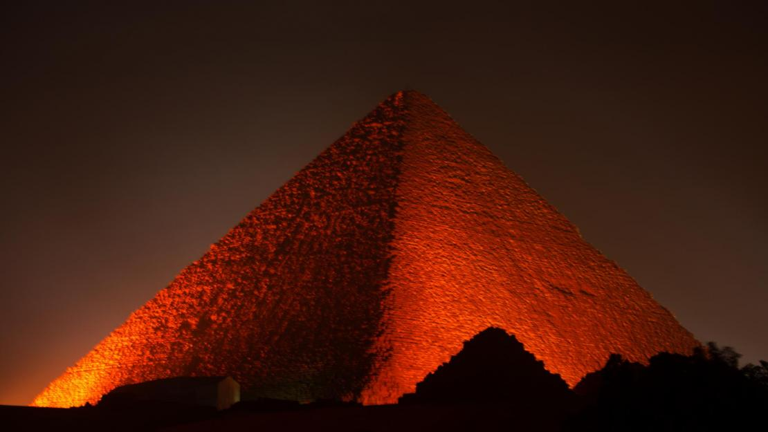 "The Great Pyramid was illuminated in orange as part of the ""Orange the World"" campaign for last year's International Day for the Elimination of Violence against Women"