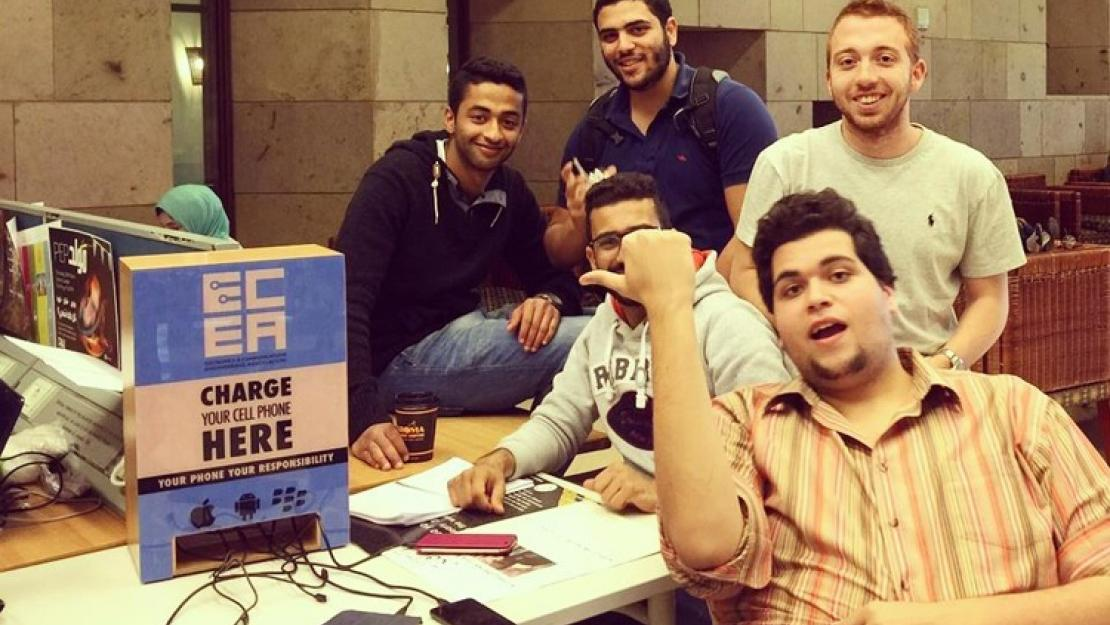 Mobile charging station in the AUC Library designed by Electronics and Communications Engineering Association