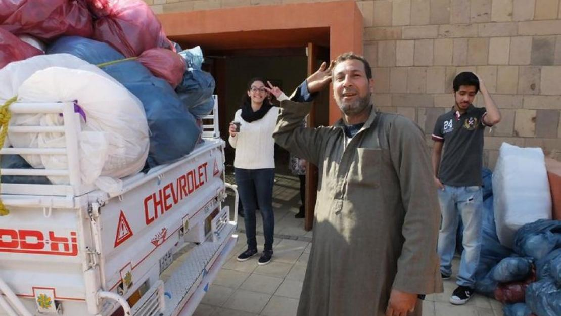 Freshman students living in AUC's dorms donate bedding to families in Upper Egypt