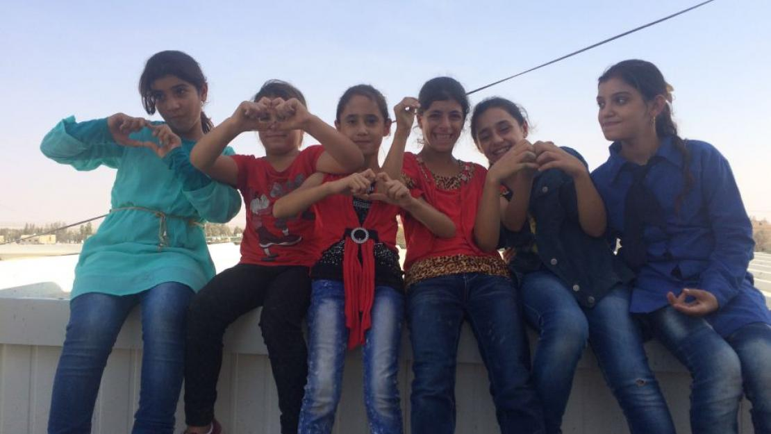 Girls in Azraq, Jordan where The Syria Fund brings items to distribute to refugees
