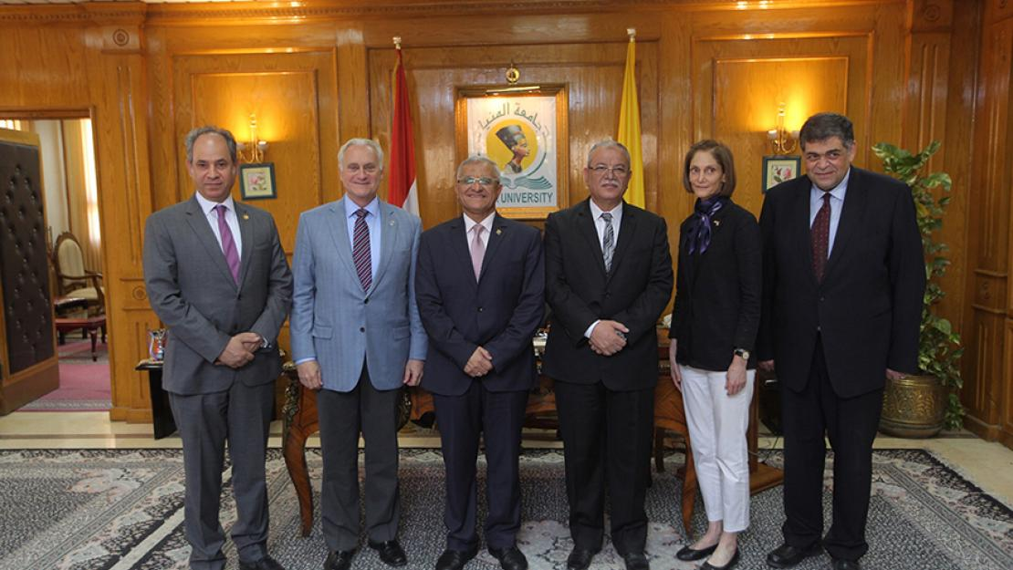 Ehab Abdel-Rahma, AUC provost; Francis Ricciardone, AUC president, Gamal El Din Aboul Magd, Minia University President; Essam El Bedewy, governor of Minia; Sherry F. Carlin, director of USAID Egypt; and Ashraf Hatem, AUC counselor at Minia University