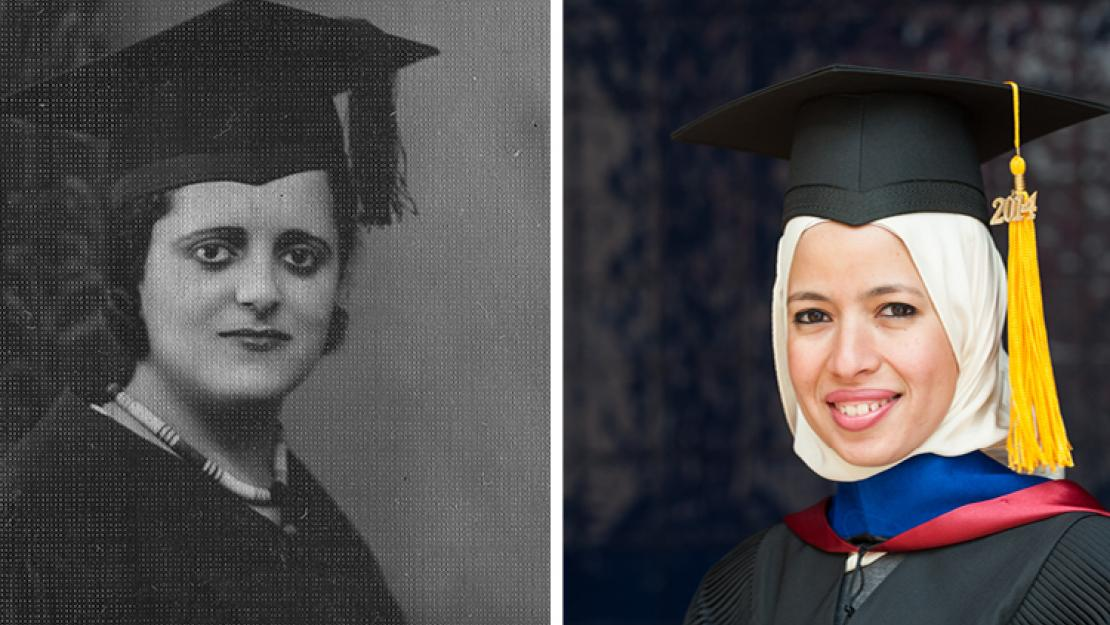Eva Habib El Masri '31 was the first female student admitted to AUC, and Yosra El Maghraby '04, '08, '14 is the first PhD student to graduate from AUC